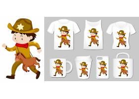 牛仔在不同类型的产品模板上的图形_5290719