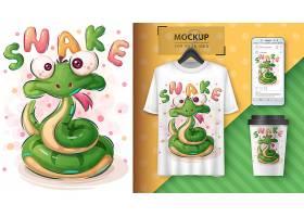 可爱的蛇海报和促销活动_7474317