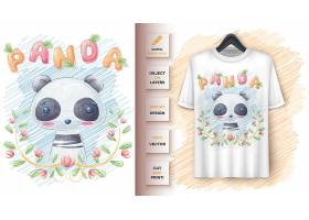 叶子海报和商品宣传中的可爱熊猫_8279035