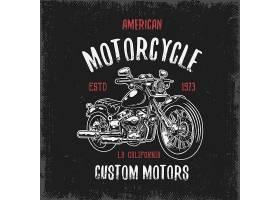 T恤印花与手绘摩托车黑色背景和肮脏质地_9648075