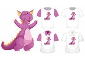 不同白色衬衫上的龙卡通人物标志与紫色短袖_11830172