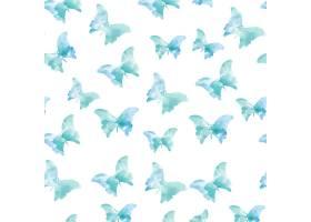 蓝色无缝水彩蝴蝶图案_1107304