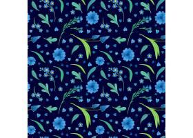 蓝色的花朵绽放平坦的矢量复古无缝图案雏_7287575