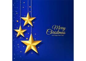 蓝色背景上有金星的圣诞节_6371935