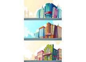 设置一个城市景观的矢量卡通插图里面有老_1215865