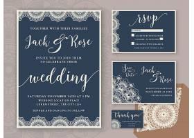 质朴的婚礼邀请函设计模板包括回应卡保_1274732