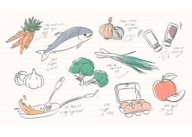 白色背景上孤立的食物图标的插图_2808086