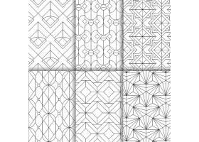 白色背景上设置的黑色几何无缝图案_3603132