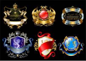 皇室贴纸上面有王冠盾牌丝带狮子_2238427