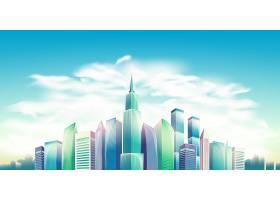 矢量卡通插图横幅带有现代大城市建筑的_1320588