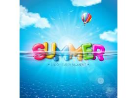 矢量夏季插图彩色3D排版字母以水下蓝色_9165429