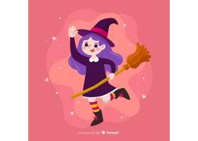粉色背景上的可爱万圣节女巫_5448317