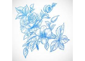 漂亮的蓝色花卡背景_10326794