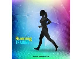 现代跑步训练背景与女子剪影_990787