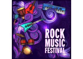 摇滚音乐节海报配电吉他鼓键盘乐器矢量插图_1159294