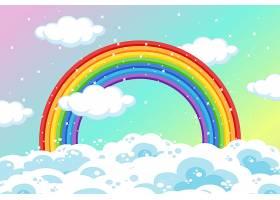 在柔和的天空背景上有云和闪闪发光的彩虹_9306577