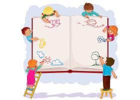 快乐的孩子们一起在一大张书上画画_1215755