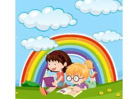女孩们在天空彩虹的公园里看书_1250790