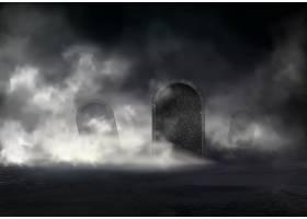 夜晚的老墓地现实的矢量倾斜的墓碑覆盖_3824489