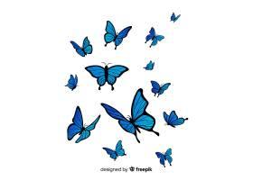 扁平蝴蝶飞舞的背景_4058934