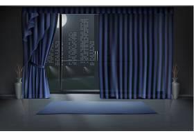 夜间有空房有大玻璃门和蓝色窗帘干净的_3266578