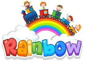 天空背景彩虹字的字体设计_7354772