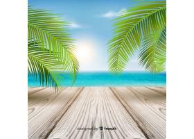 五颜六色的热带背景树叶和木地板_2742424