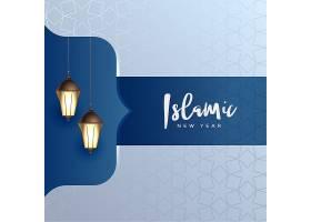 优雅的伊斯兰新年背景挂着灯具_2870406