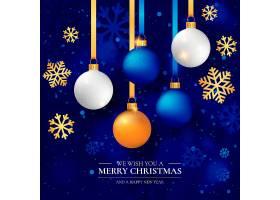优雅的圣诞背景和逼真的圣诞球_3322382