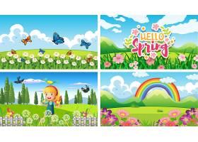 公园里有孩子和动物的四个背景场景_7579252