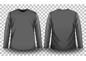 透明背景灰色长袖T恤正反面_13221305