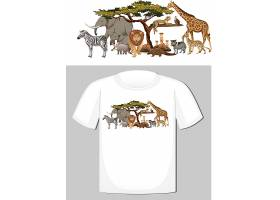 野生动物群体T恤设计_12735512
