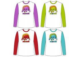长袖T恤上的一套不同颜色的恐龙屏_10137028
