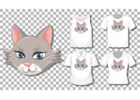 隔离了一套不同衬衫的猫卡通形象_11829805