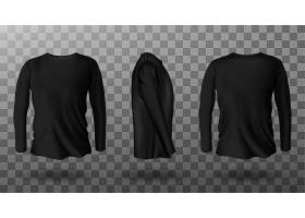 黑色长袖T恤的真实感模型_8067028