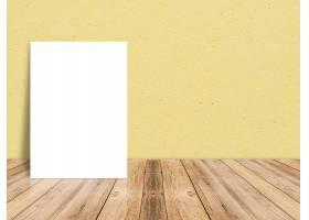 热带木地板和纸墙上的空白白纸海报模板样_1467340