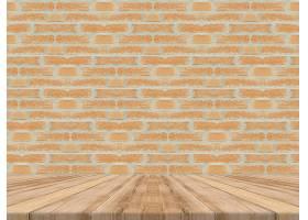 空的热带木质桌面砖墙模拟背景_1381338