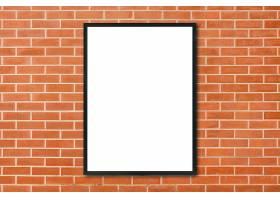 模拟房间内挂在红砖墙背景上的空白海报相框_1616969