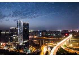 重庆城市立交桥夜间紫色灯光秀_1207393