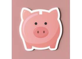 粉色存钱罐储蓄图标_3686829