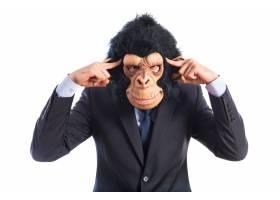 猴子在白色背景上思考_1201645