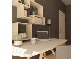 现代家庭办公室的3D渲染_4512067