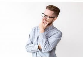 戴眼镜做梦的快乐商人肖像_1305064
