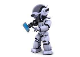 带有移动设备的机器人角色_958144