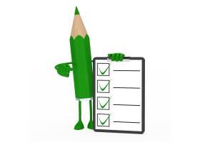 带正面问卷的绿色铅笔_953470