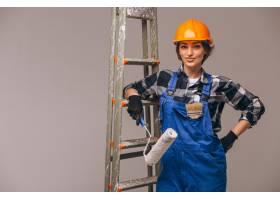 女修理工穿着制服手持梯子与世隔绝_4410816