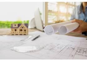 工程师手中的图纸施工概念工程工具复_1238642