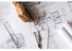 工程师手中的图纸施工概念工程工具复_1238644