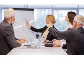 商务人士向办公室合作伙伴介绍新项目_3329287