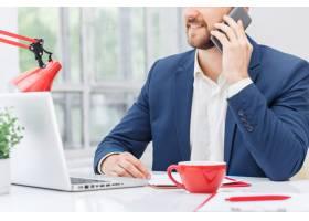 商务人士在办公室里通电话的肖像_8413563